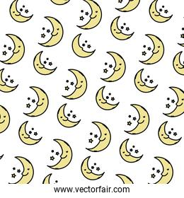 color kawaii happy moon and stars background