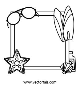 line square emblem with vacation beach accessories