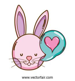 rabbit head with heart inside chat bubble