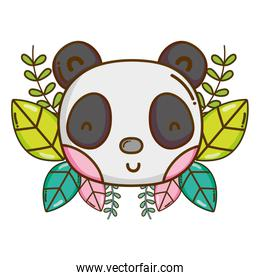 male panda head with exotic branches and leaves
