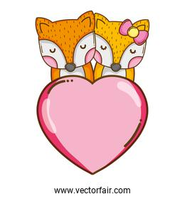 fox couple with heart love sign