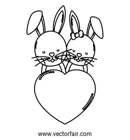 line rabbit couple with heart love sign
