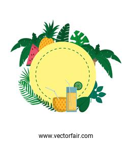 circle with tropical fruits and branches plants