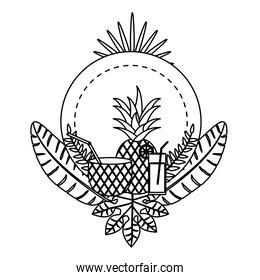 line circle emblem with delicious pineapple fruit