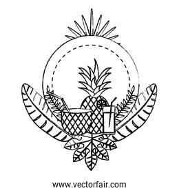 grunge circle emblem with delicious pineapple fruit