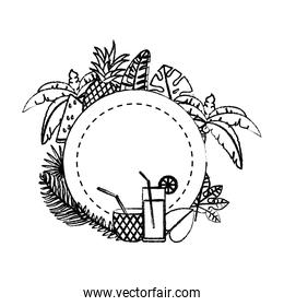 grunge circle with tropical fruits and branches plants