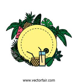 color circle with tropical fruits and branches plants