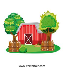 house farm with tress and wood grillage