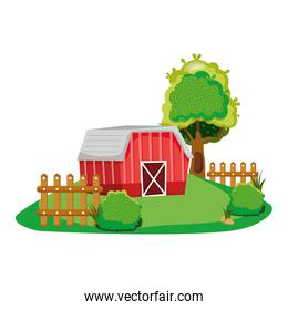 house farm with wood grillage and trees