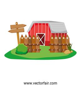 house farm with wood grillage and emblem notices