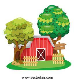 house farm with wood notices and trees
