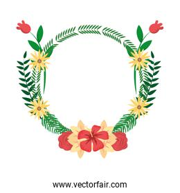 circle tropical branches with flowers and leaves