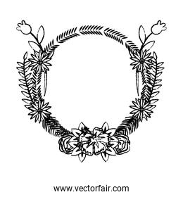 grunge circle tropical branches with flowers and leaves
