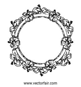 grunge circle plant branches flowers decoration
