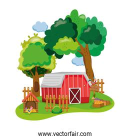 house farm with chicken animals and vegetables