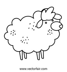 line cute sheep farm animal icon
