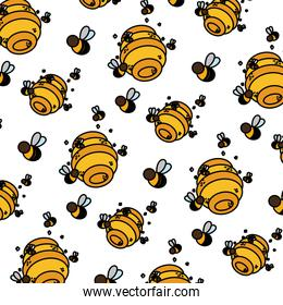 color honeycomb with bees insects flying background