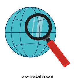 global network connection with magnifying glass