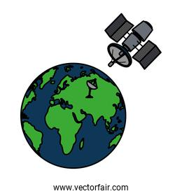 color global earth planet with satellite technology