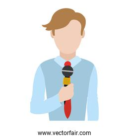 elegant journalist with hairstyle and microphone style