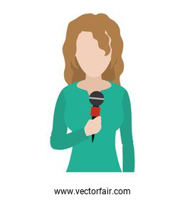 professional woman reporter news with microphone