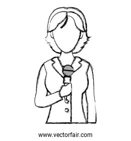 grunge woman reporter news information with microphone