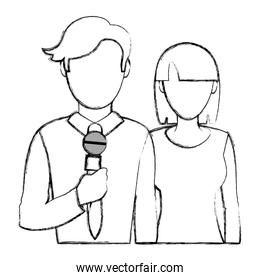 grunge man and woman partner news reporters
