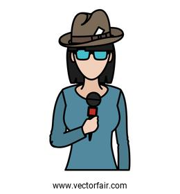 color woman reporter news with hat and microphone