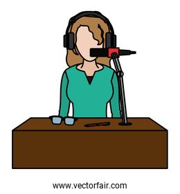 color woman reporter news with headphone and microphone