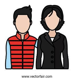 color woman and man professional partner with hairstyle