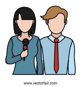color woman and man news partner reporters