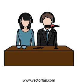 color woman and man partner reporters with headphones