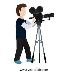 professional cameraman with camcorder digital equipment