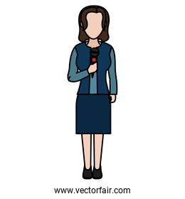 color woman reporter with elegant clothes and hairstyle