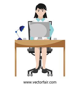 businesswoman office seating with desk and computer