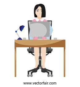 professional businesswoman desk with computer and lamp