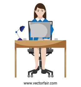 elegant businesswoman desk with computer and lamp