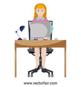 businesswoman seating with wood desk and computer