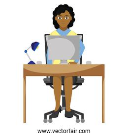 elegant businesswoman with wood desk and computer