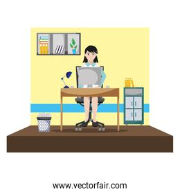 businesswoman success with file cabinet and computer