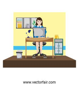 elegant businesswoman office with file cabinet