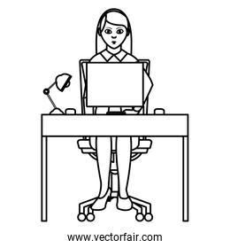 line elegant businesswoman desk with computer and lamp