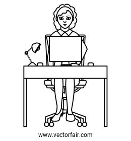 line elegant businesswoman with wood desk and computer