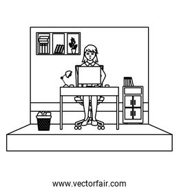 line businesswoman success with file cabinet and computer