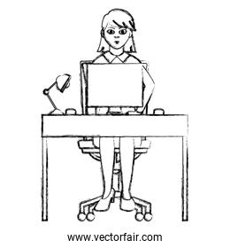 grunge businesswoman office seating with desk and computer
