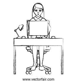 grunge elegant businesswoman desk with computer and lamp