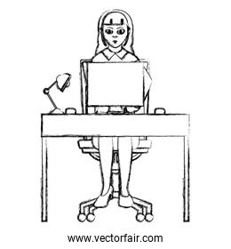 grunge businesswoman seating with wood desk and computer