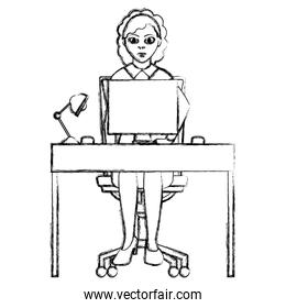 grunge elegant businesswoman with wood desk and computer