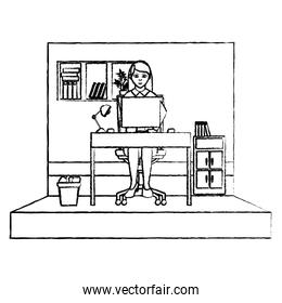 grunge elegant businesswoman office with file cabinet
