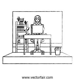 grunge businesswoman manager office and file cabinet